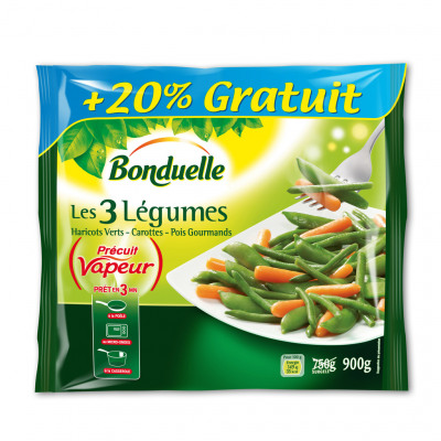 Les 3 légumes précuit vapeur haricots verts - carottes - pois gourmands (Bonduelle)