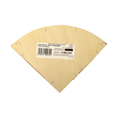 Fromage, à base de brie de meaux au lait cru et de fromage double creme au lait pasteurisé, aux trois poivres, 24% mt/pt (Renard gillard)
