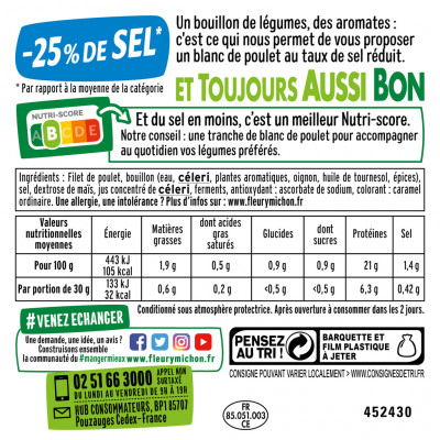 Lot 2(8 tr. fines blanc de poulet doré au four, - 25 % de sel + 3 tr. offertes) (Fleury michon)