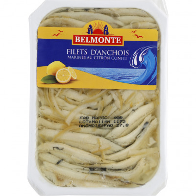 Filets d'anchois marines aux citrons confits (Belmonte)