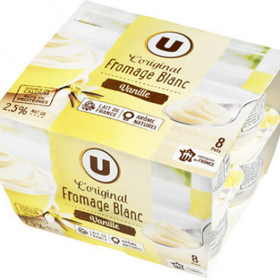 Fromage frais sucré lait pasteurisé saveur vanille 2,5%mg (U)