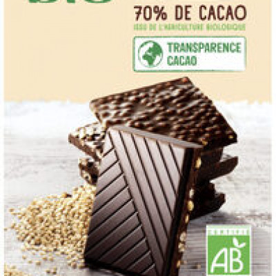 Chocolat noir 70% de cacao quinoa (U bio)
